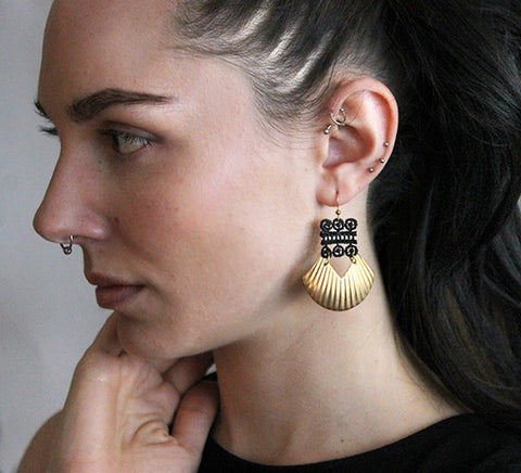 karinya lace and brass earrings