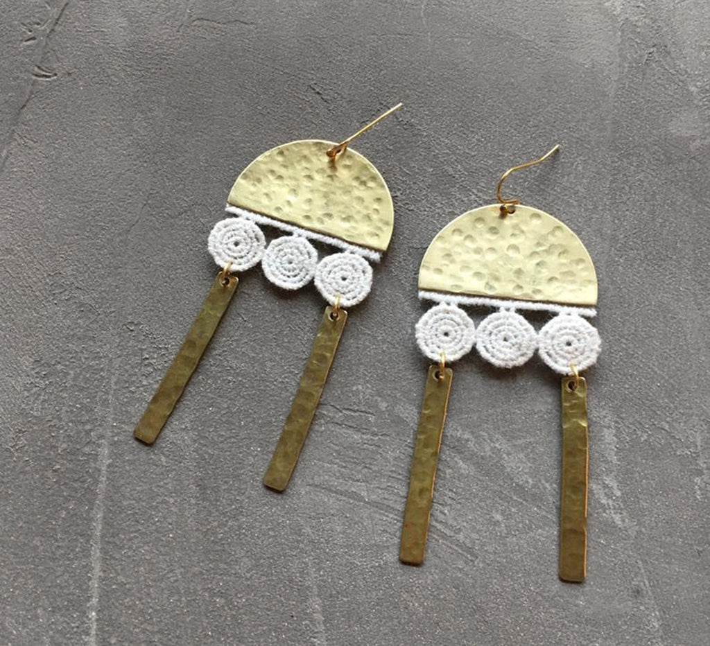 long brass geometric earrings