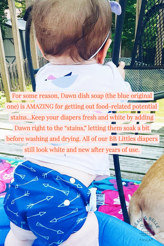 use Dawn dish soap when cleaning reusable swim diapers to prevent stains and smells