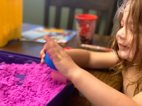 Kinetic Sand, Play Sand, Indoor Sand, Shelter in Place Covid19 Coronavirus Beau and Belle Littles Laelle Playing with pink sand