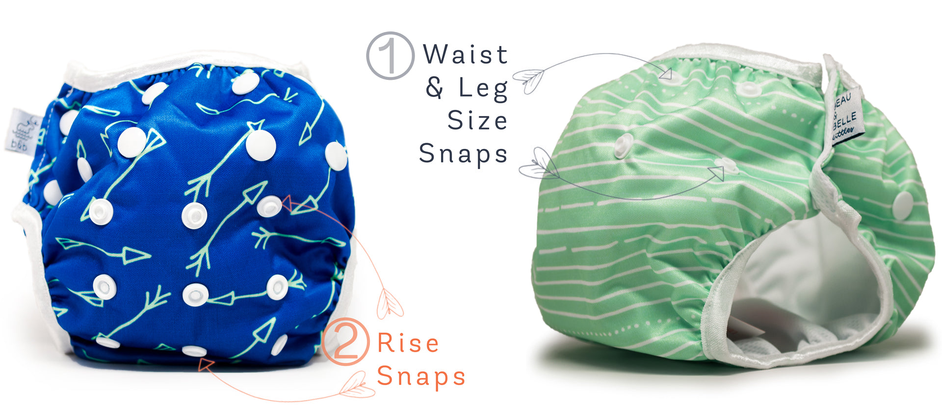 Snap adjustment how-to for reusable swim diapers with snaps