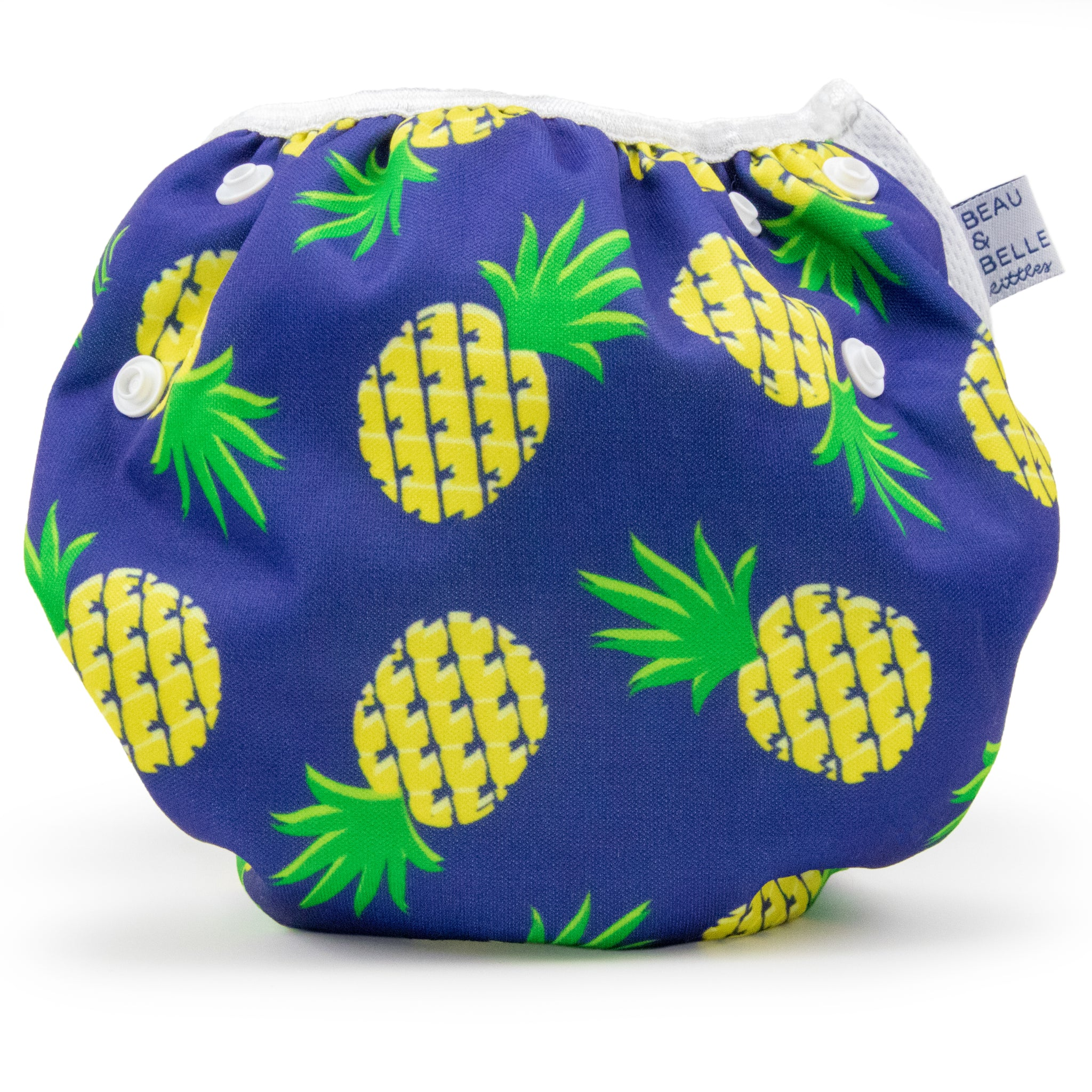 Beau and Belle Littles Swim Diaper, Regular Size, Navy blue with pineapples