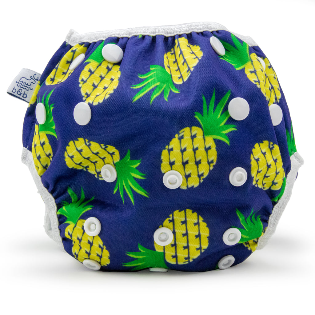 Beau and Belle Littles Swim Diaper, Regular Size, Navy blue with pineapples, front view