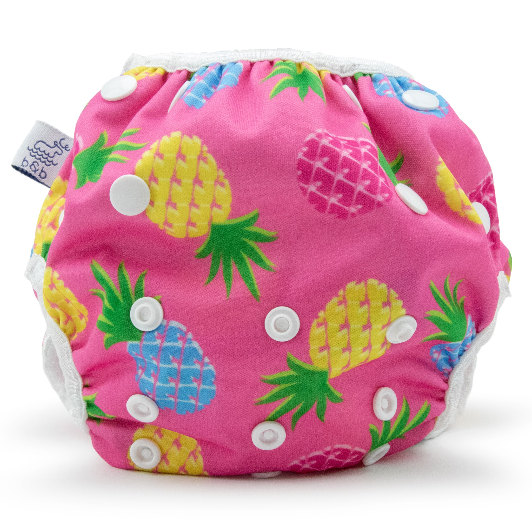 Beau and Belle Littles Swim Diaper, Large Size, light pink background with yellow, dark pink, and blue pineapples, front view