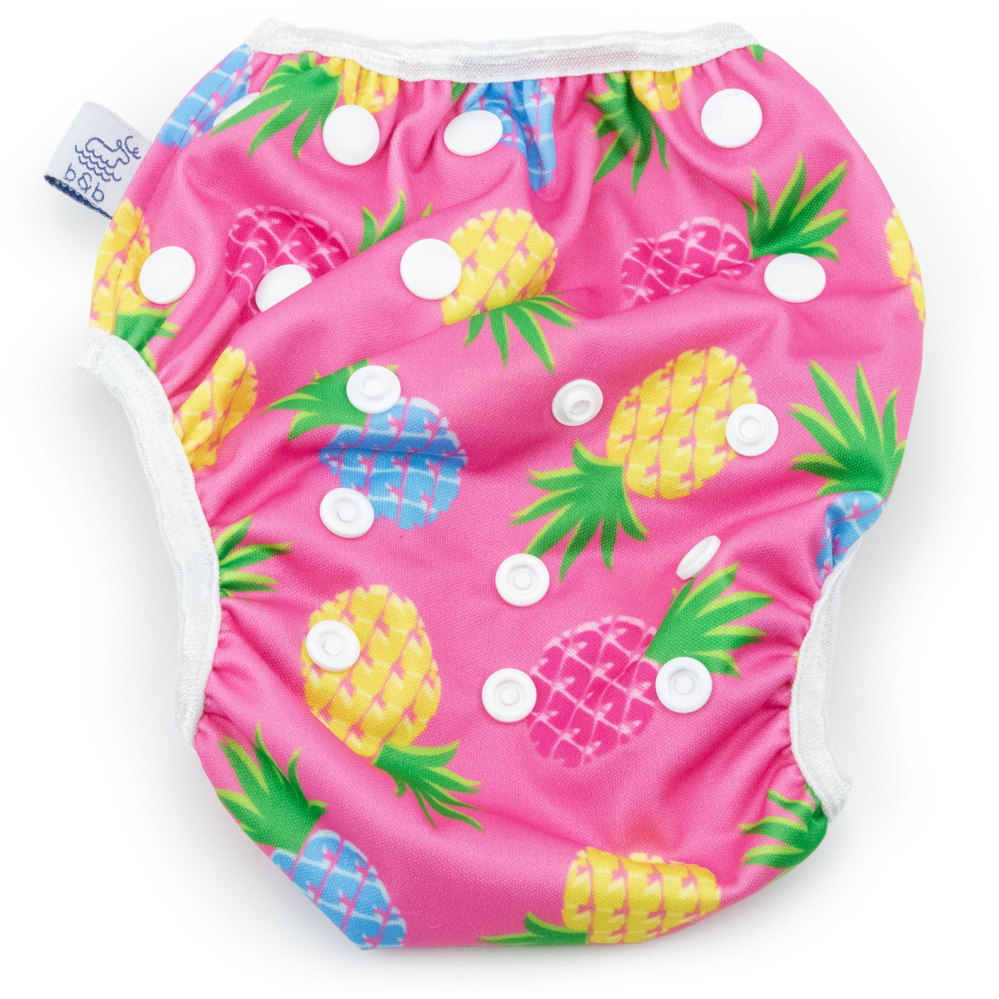 Beau and Belle Littles Swim Diaper, Large Size, light pink background with yellow, dark pink, and blue pineapples, flat lay, front view