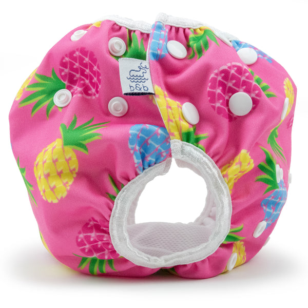 Large Pink Pineapples Nageuret Premium Reusable Swim Diaper, Adjustable 3-5 Years