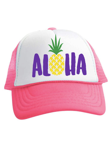 Aloha Pineapple Trucker Hat Baby Girls Beau and Belle Littles Pink
