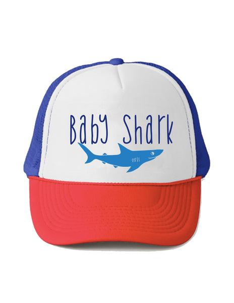 Baby Shark Trucker Hat By Beau and Belle Littles Red White and Blue baby size, youth size