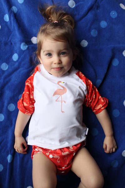 Flamingo Baby Rash Guard, Sun Protective Swim Shirt (Sizes 6M–5T)