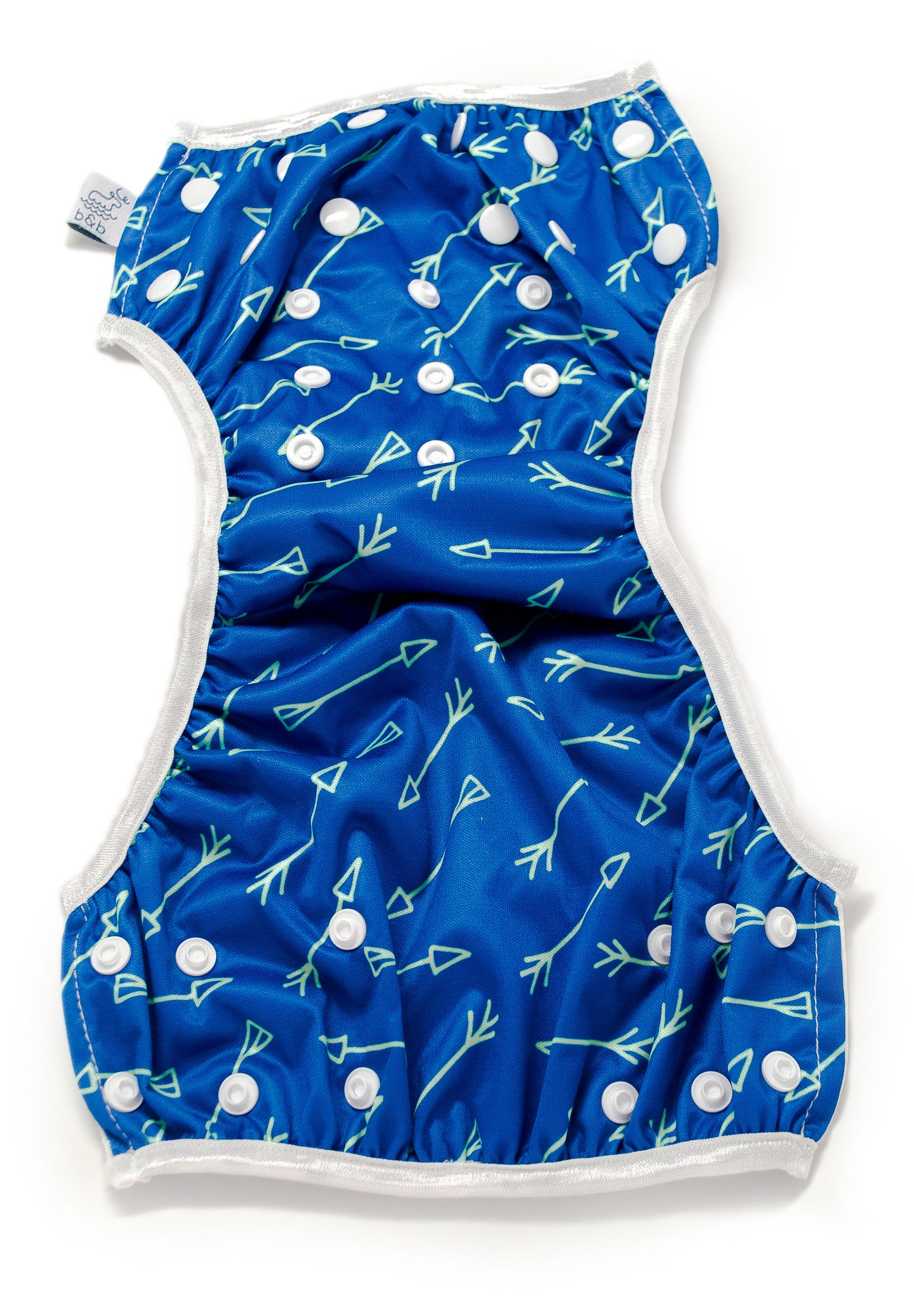 Beau and Belle Littles Swim Diaper, Regular Size, blue with green arrows unbuttoned and lain out open and flat