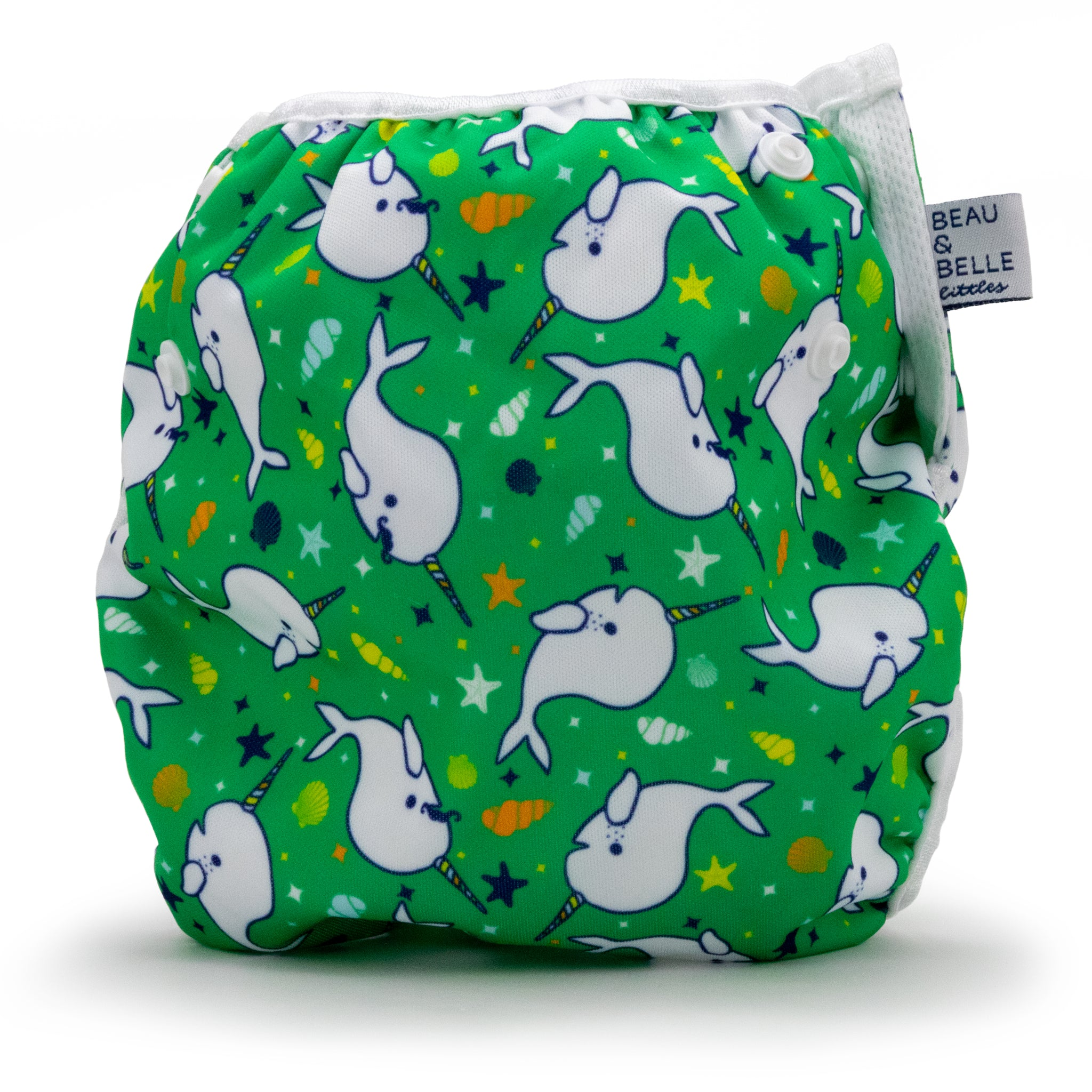 Reusable Swim Diaper with a Green Narwhals Design