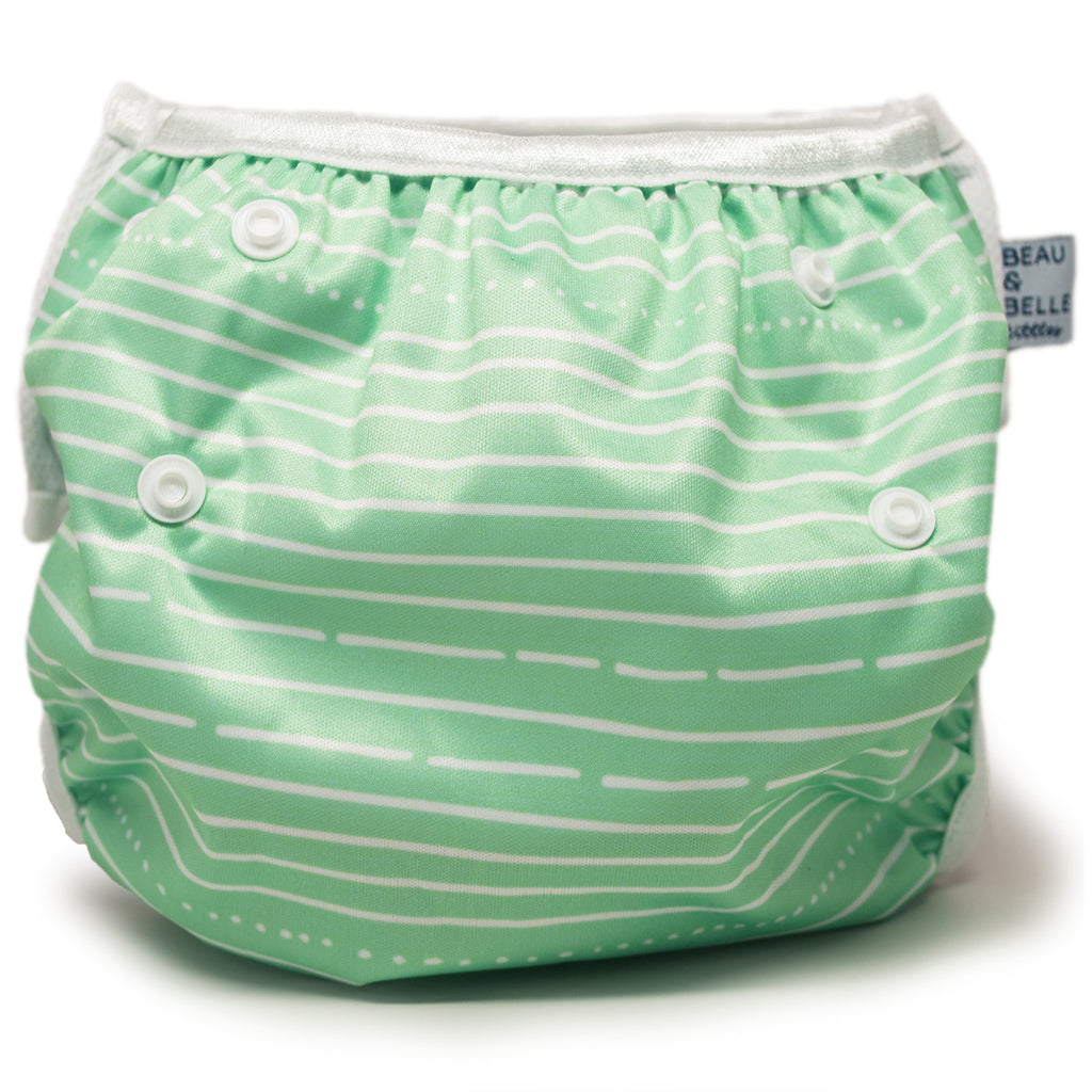 Beau and Belle Littles Swim Diaper, Regular Size, light green with white horizontal pin stripes, back view