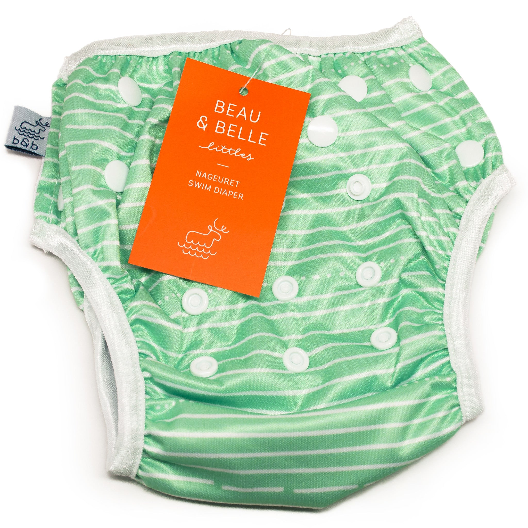 Beau and Belle Littles Swim Diaper, Regular Size, light green with white horizontal pin stripes, laid flat with tag showing