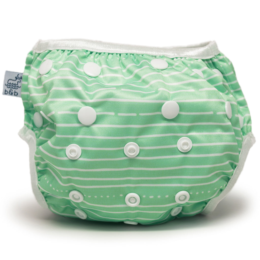Beau and Belle Littles Swim Diaper, Regular Size, light green with white horizontal pin stripes, front view