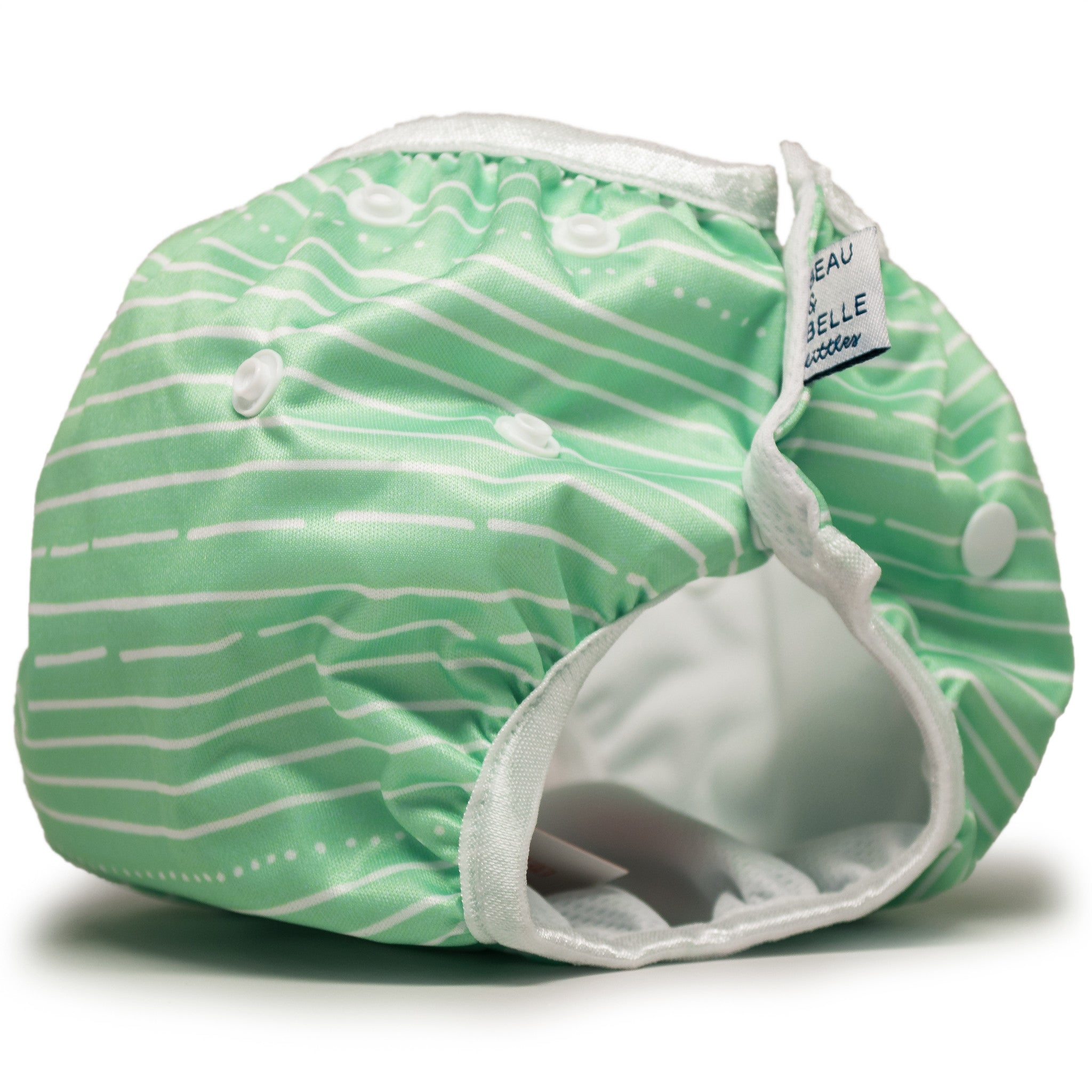 Beau and Belle Littles Swim Diaper, Regular Size, light green with white horizontal pin stripes, side view