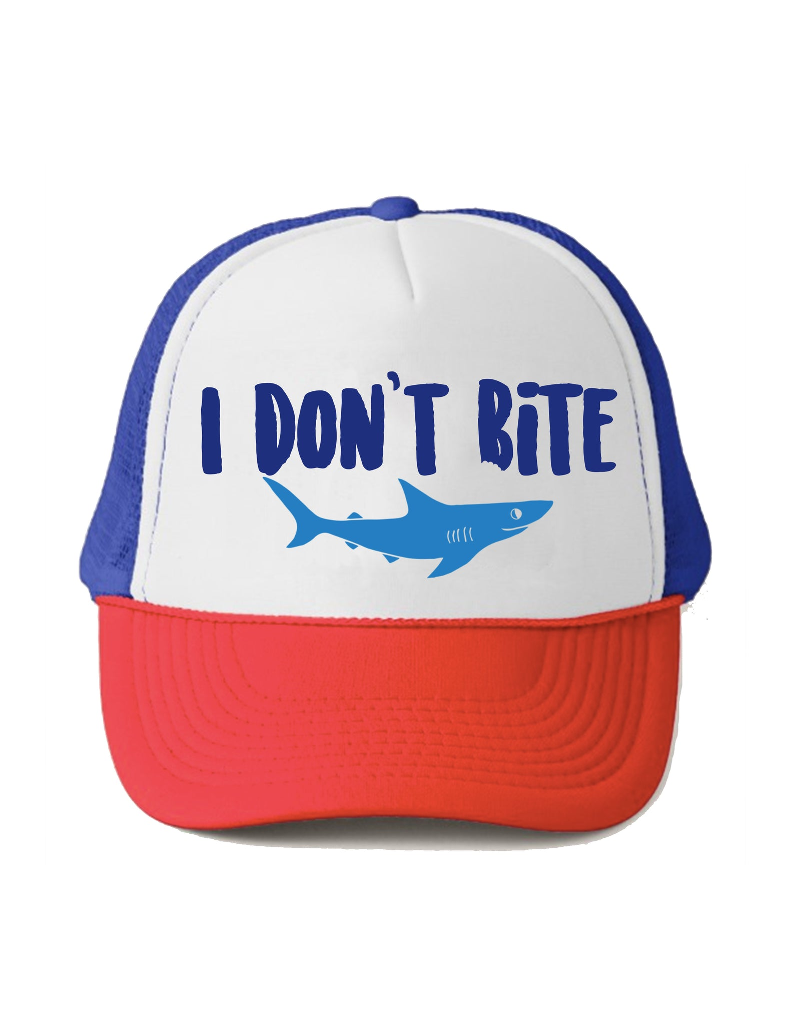 Shark I don't Bite Trucker Hat Beau and Belle Littles Red White and Blue