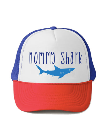 Mommy Shark Trucker Hat Beau and Belle Littles Adult Size Red White and Blue