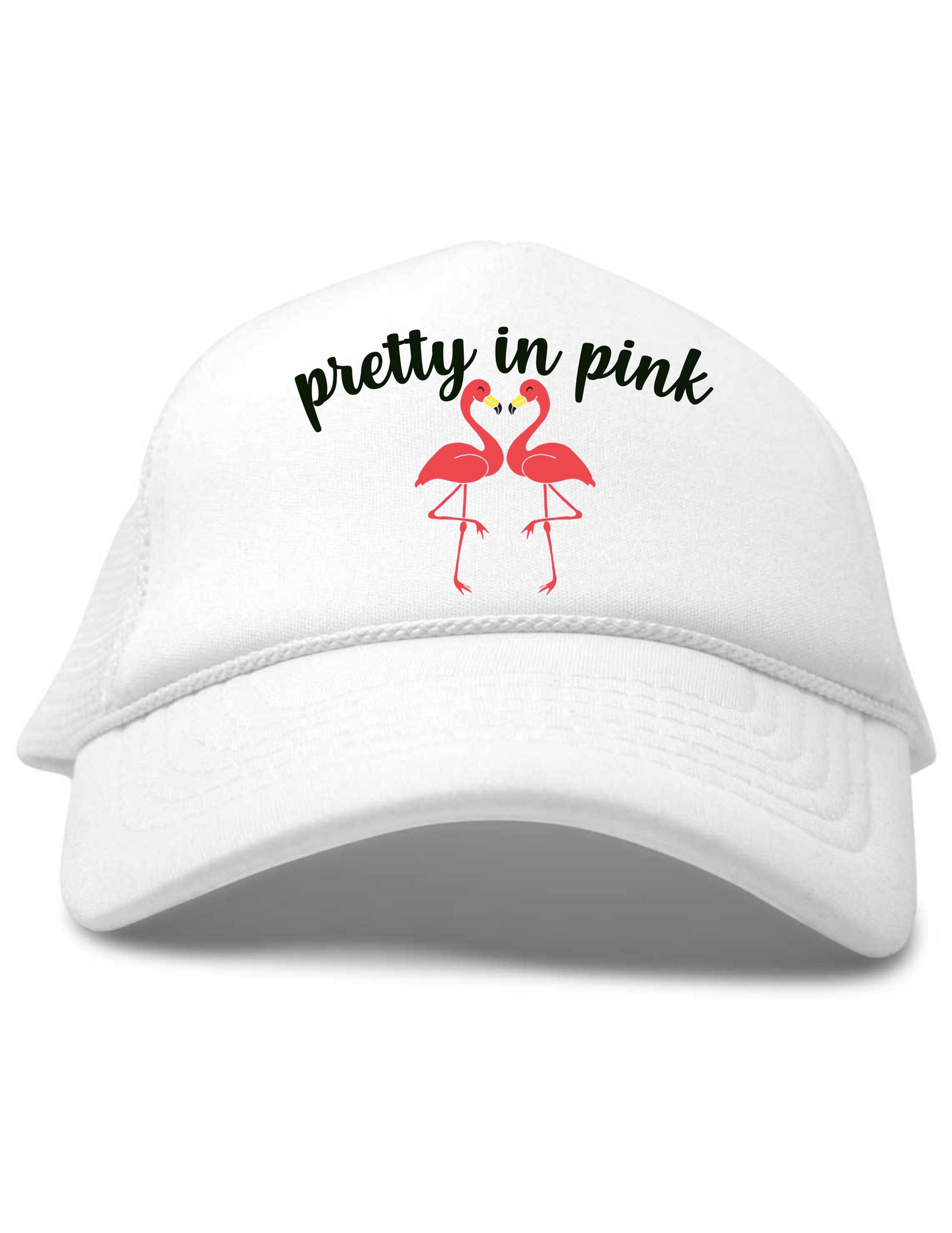 Pretty in Pink Flamingos Trucker Hat White Toddler Baby Size Youth Size Beau and Belle Littles