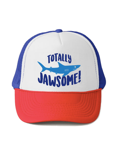 Totally Jawsome Shark Trucker Hat Babies and Toddler and Youth Size Red White and Blue