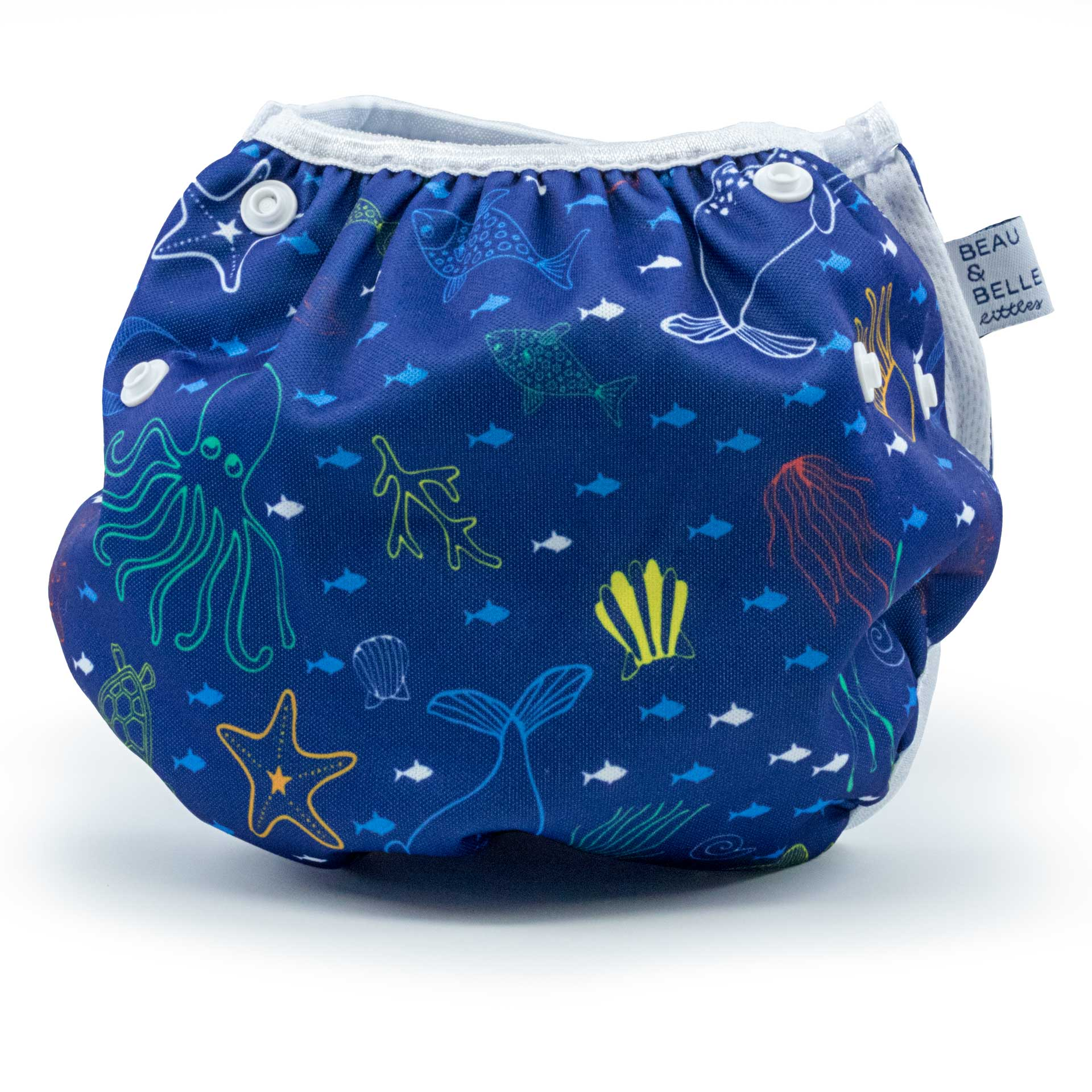 Beau and Belle Littles Swim Diaper, Regular Size, dark blue with outlines of sea creatures, Sea Friends print, back view