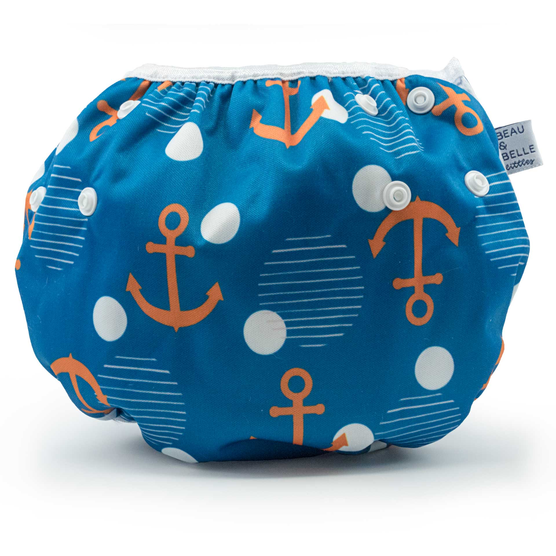 Beau and Belle Littles Swim Diaper, Large Size, Anchor print, back view