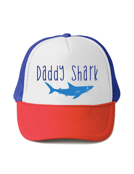Daddy Shark Trucker Hat Beau and Belle Littles Red White and Blue