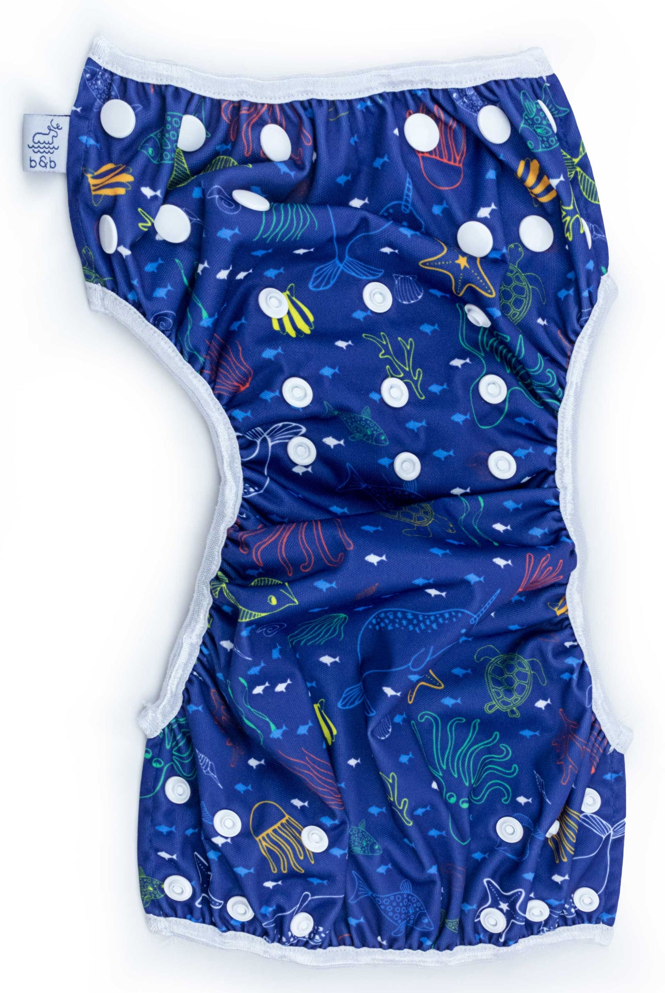 Beau and Belle Littles Swim Diaper, Regular Size, dark blue with outlines of sea creatures, Sea Friends print, unbuttoned and laid flat
