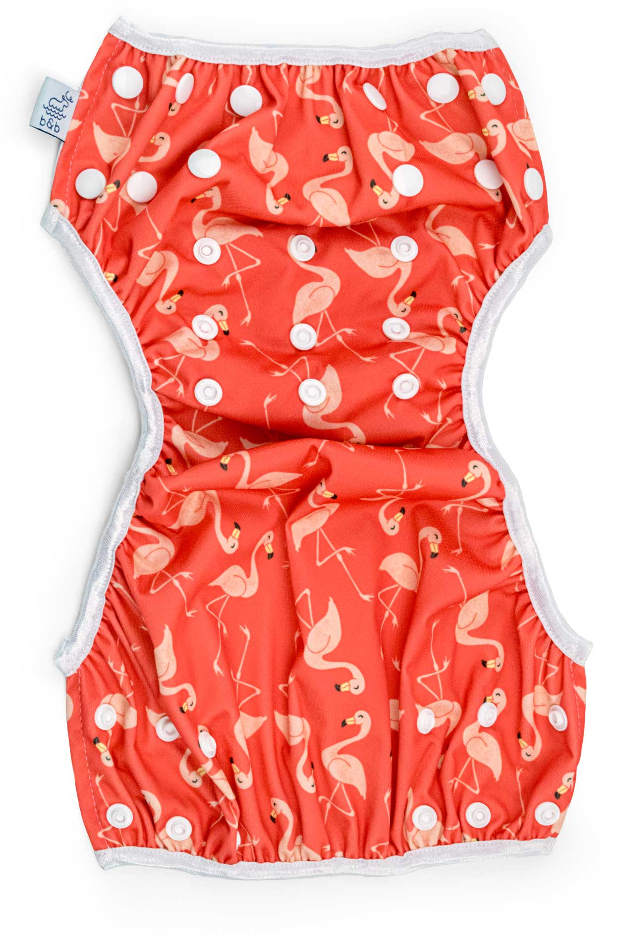 Beau and Belle Littles Swim Diaper, Regular Size, dark pink with light pink flamingos, unbuttoned and laid out flat