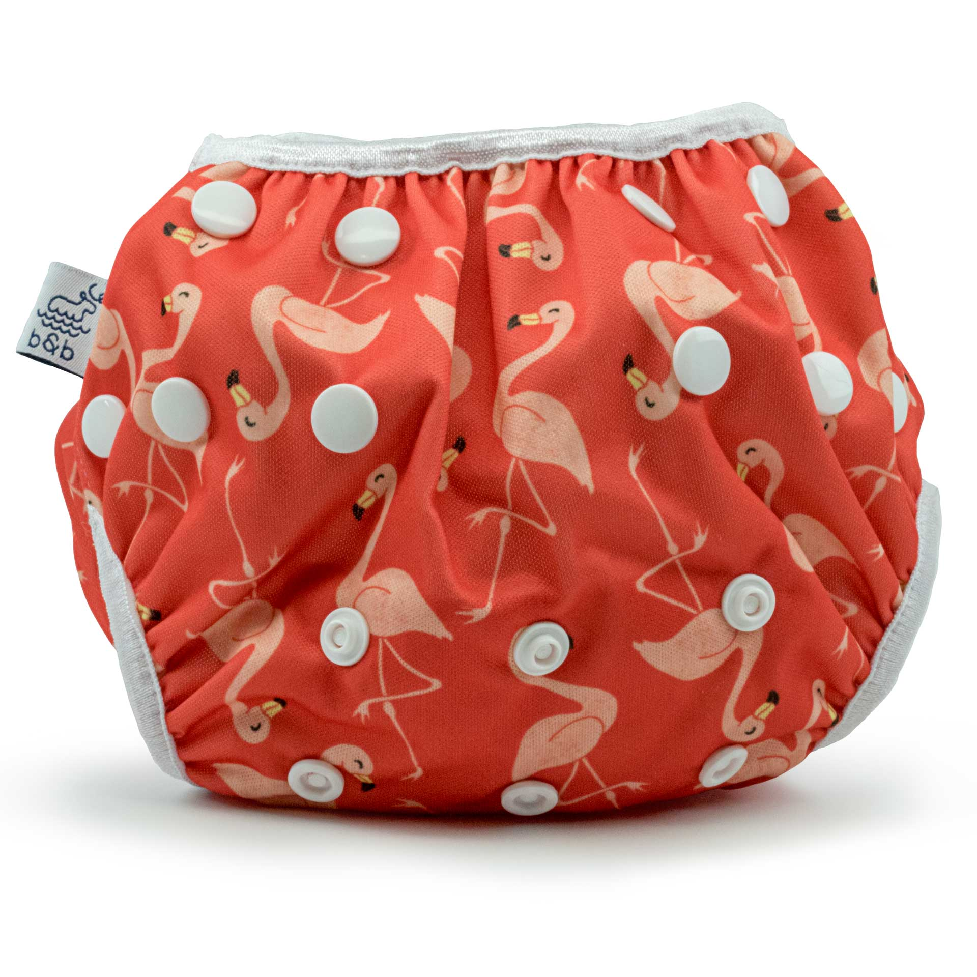 Beau and Belle Littles Swim Diaper, Regular Size, dark pink with light pink flamingos, front view