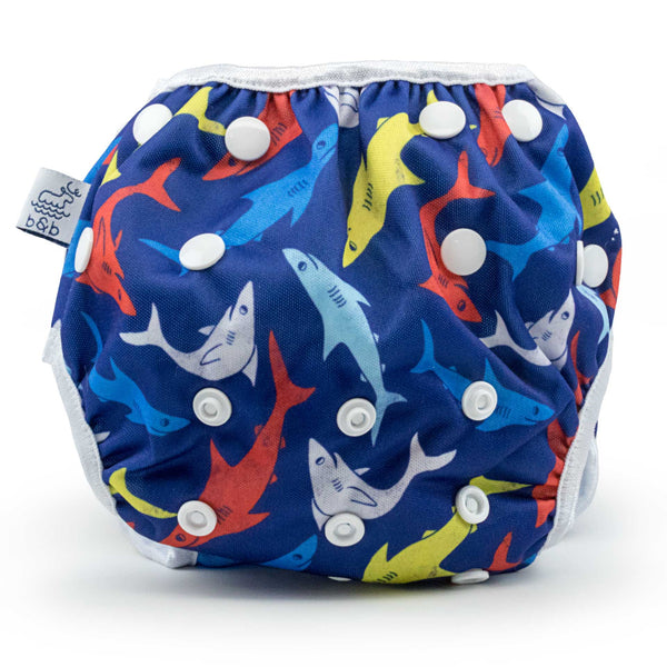 Sharks Nageuret Premium Reusable Swim Diaper, Adjustable 0-3 Years