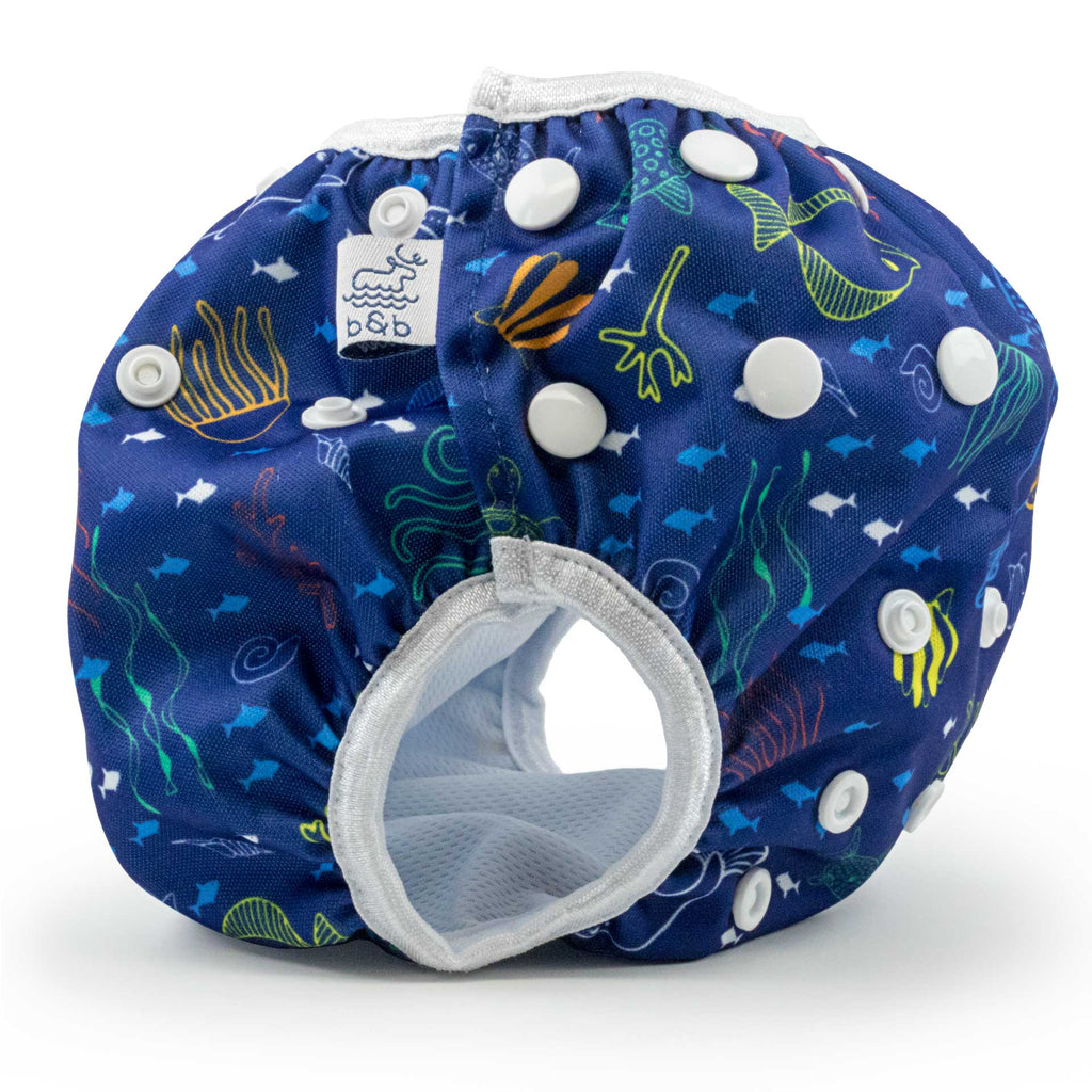Beau and Belle Littles Swim Diaper, Regular Size, dark blue with outlines of sea creatures, Sea Friends print, side view
