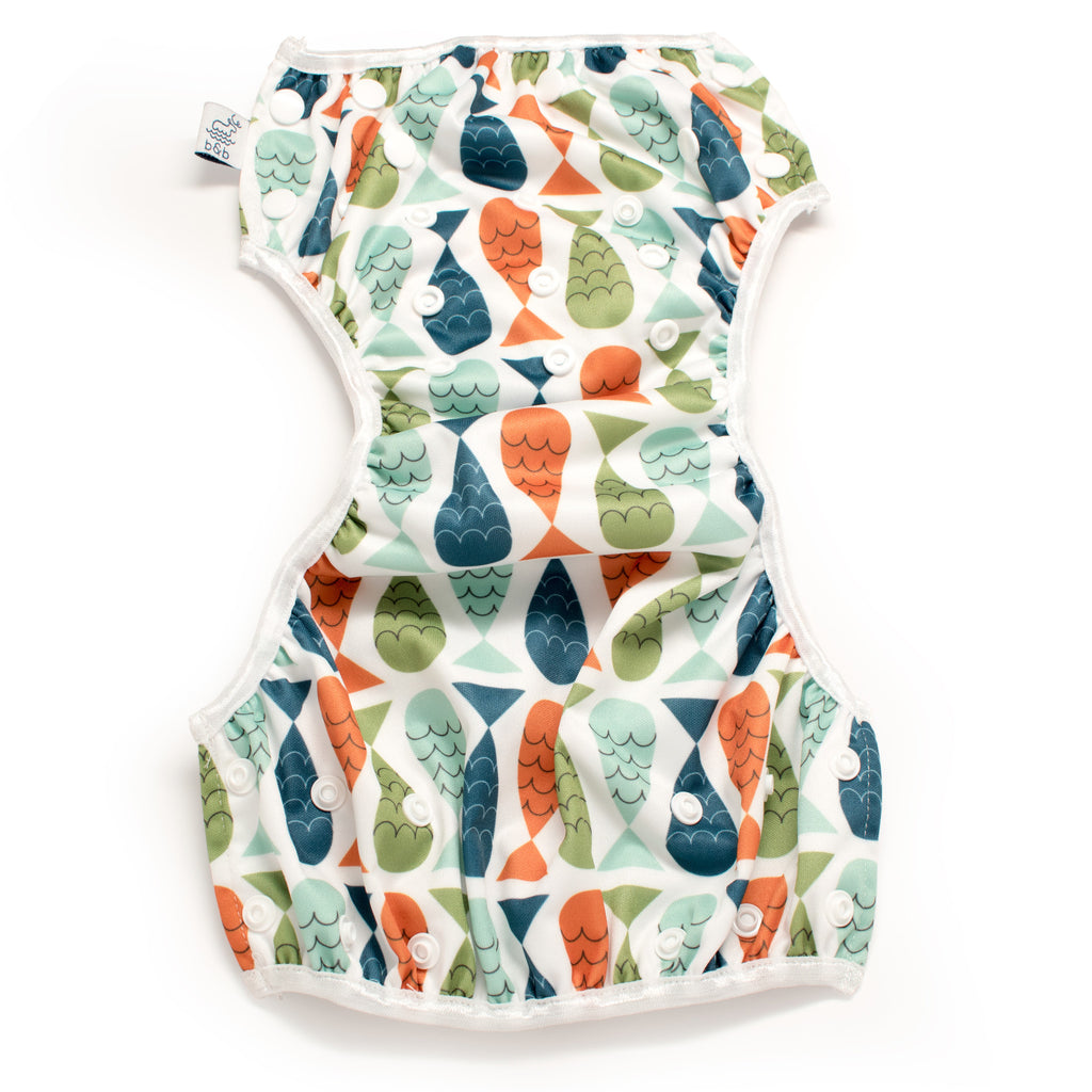 Beau and Belle Littles Swim Diaper, Regular Size, fish print, unbuttoned and laid flat