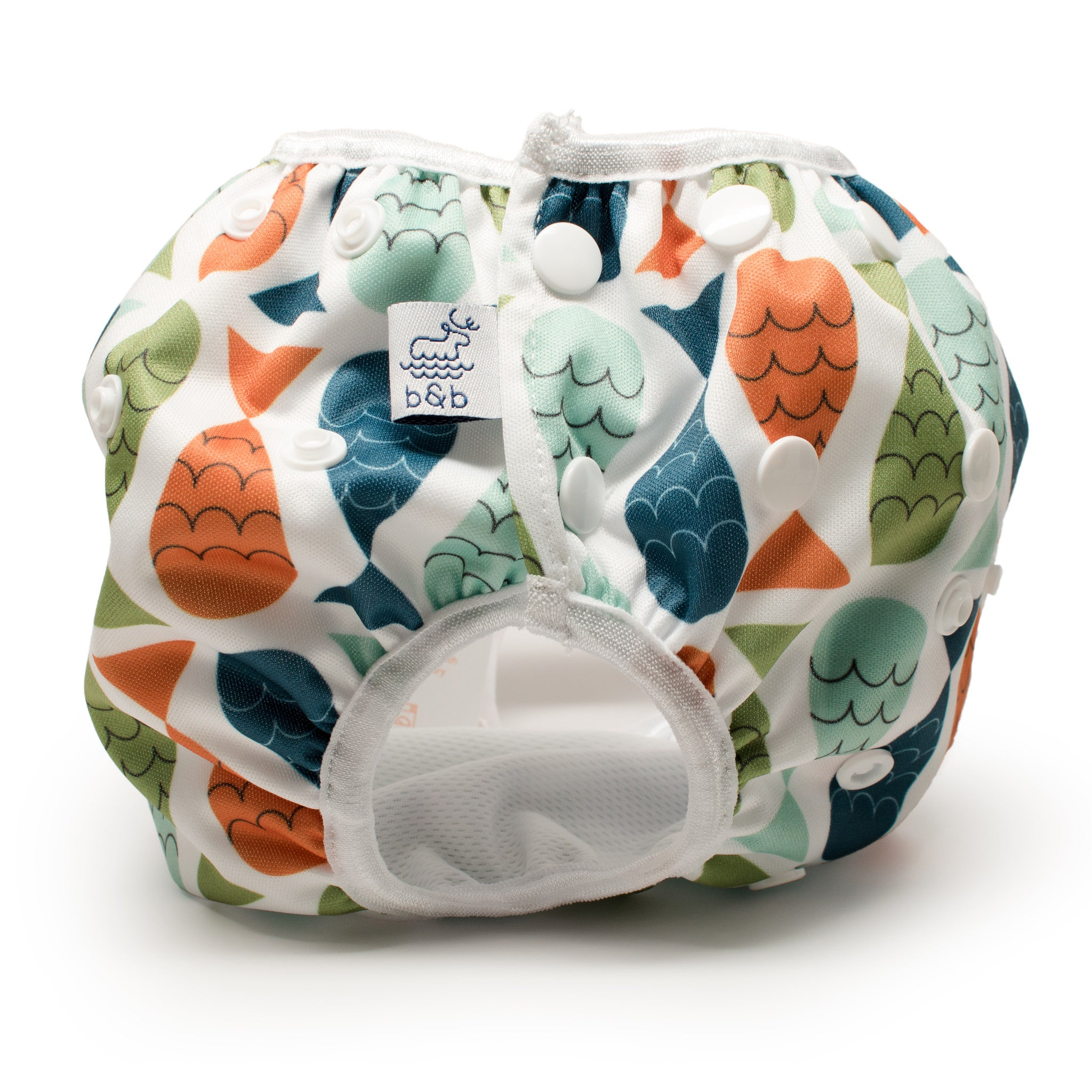 Beau and Belle Littles Swim Diaper, Regular Size, fish print, side view