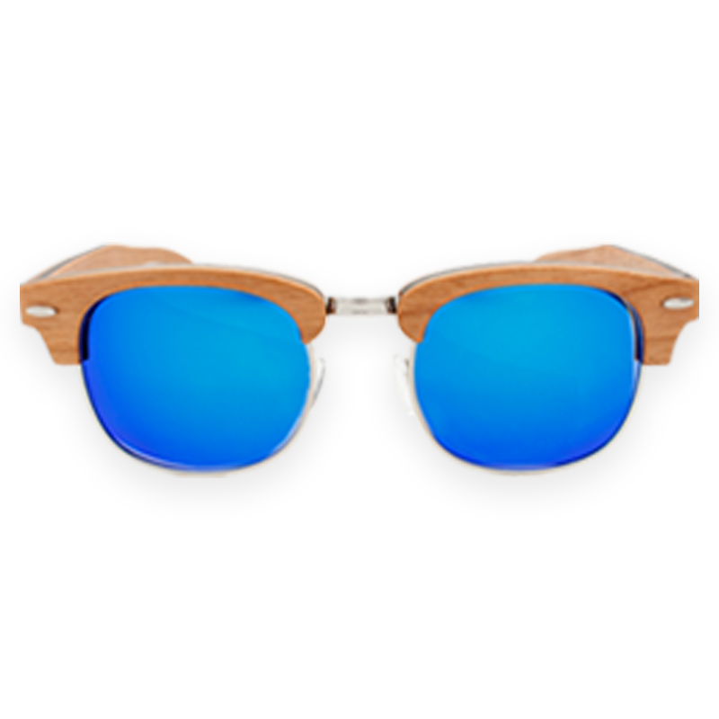 FMX Sunglasses: Cherrywood-Blue-Mirror