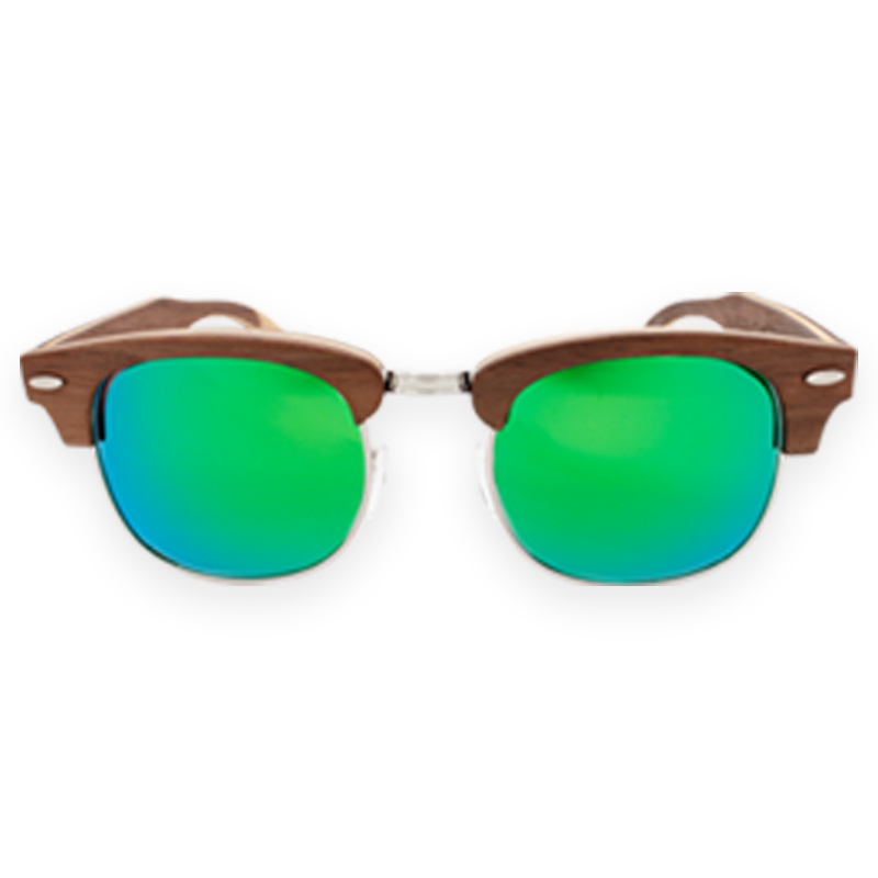 FMX Sunglasses: Walnut-Green-Blue-Mirror
