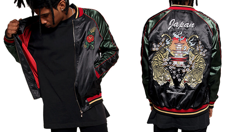 Streetwear Fashion Embroidery souvenir bomber jackets by Entree LS