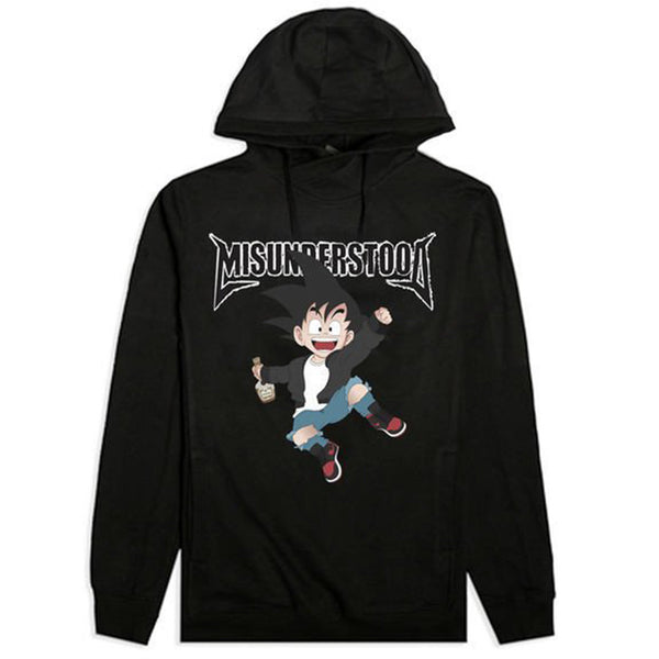 Misunderstood Goku Cut And Sewn Black French Terry Hoodie - Back Order
