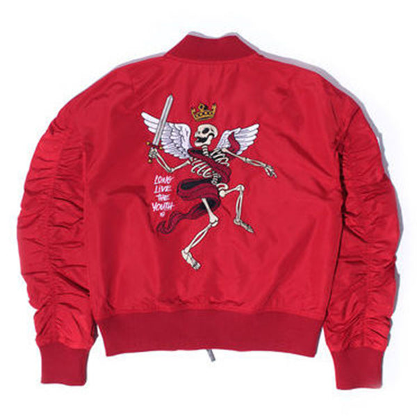 Misunderstood Red Embroidery Bomber Jacket