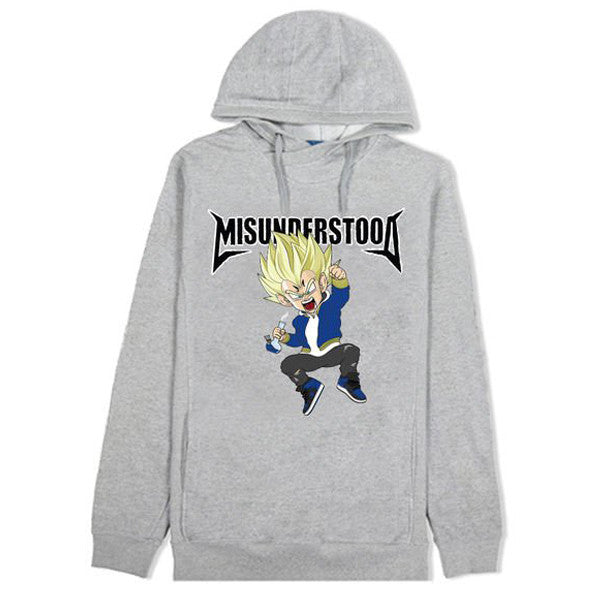 Misunderstood Vegeta Cut And Sewn Gray French Terry Hoodie - No Restock