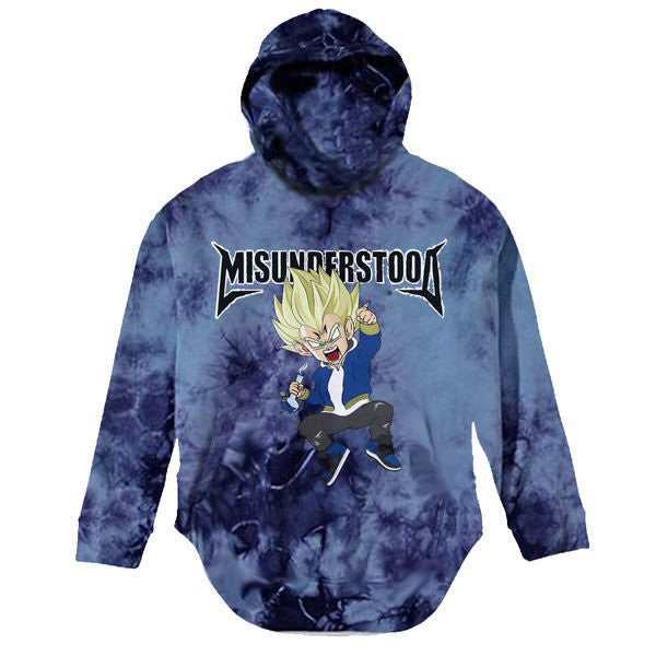 Misunderstood Vegeta Blue Tie Dye Distressed Hoodie - Limited - No Restock