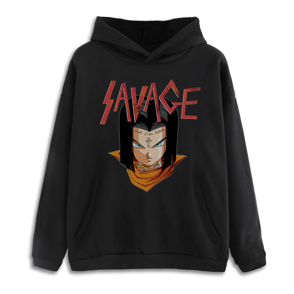 17 Savage Drop Shoulder Black Pullover Hoodie *Low Stock*