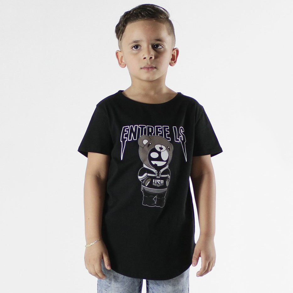 Entree Kids Bear Tour Black Curved Hem Tee - 2 Left!