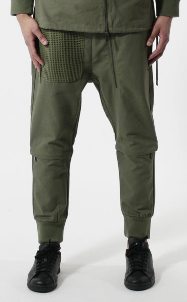 Unknown Archetype Olive Military Jogger Pants - Fully Removable Leg Panels