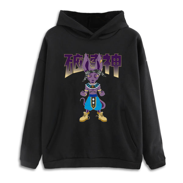 Lord Beerus God Life Drop Shoulder Black Pullover Hoodie