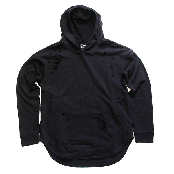 Black Curved Hem Men Distressed Hoodie