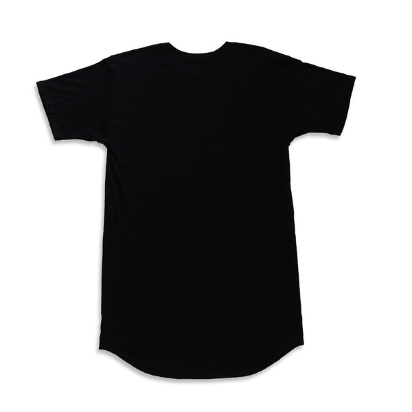 Brave Hearted Curved Hem Scallop Black Tee - 2 Left!