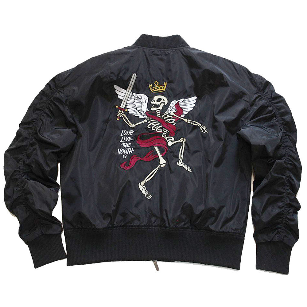 Misunderstood Black Embroidery Bomber Jacket - Low Stock
