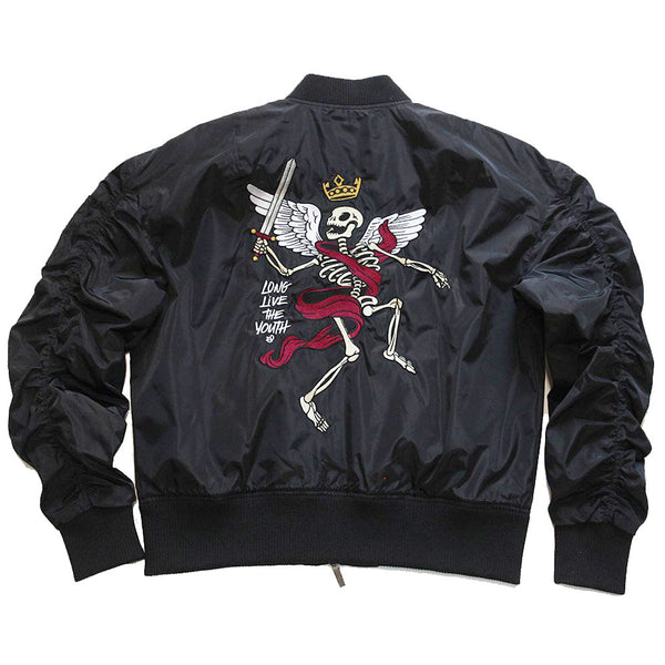 Misunderstood Black Embroidery Bomber Jacket - 1 Left!