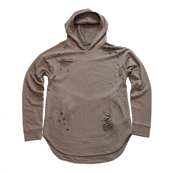 Taupe Curved Hem Men Distressed Hoodie