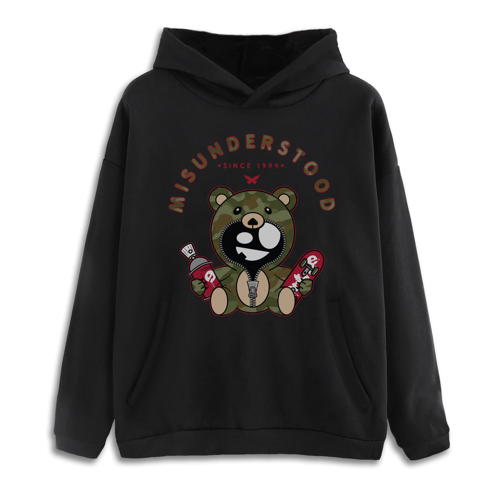 Entree LS Misunderstood Camo Teddy 2.0 Drop Shoulder Black Pullover Hoodie